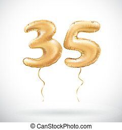 vector Golden number 35 thirty five metallic balloon. Party decoration golden balloons. Anniversary sign for happy holiday, celebration, birthday, carnival, new year. art