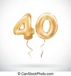 vector Golden number 40 forty metallic balloon. Party...