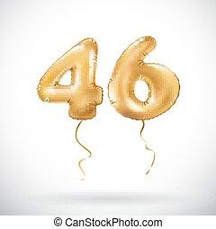 vector Golden number 46 forty six metallic balloon. Party...