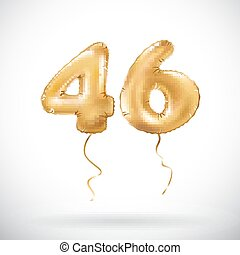 vector Golden number 46 forty six metallic balloon. Party...