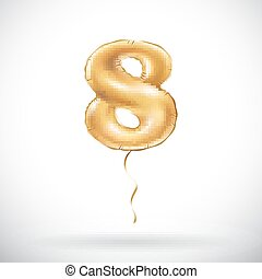 vector Golden number 8 eight metallic balloon. Party decoration golden balloons. Anniversary sign for happy holiday, celebration, birthday, carnival, new year.