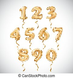 vector Golden number metallic balloon. Party decoration golden balloons. Anniversary sign for happy holiday, celebration, birthday, carnival, new year.