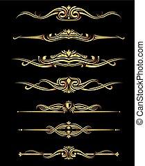Vector golden ornate borders set black background