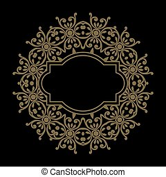 Vector golden ornate frame for you message. Floral ornament with gold ribbon. Luxury decor for design in Victorian style. Vintage oriental template. EPS 8