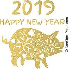 pig - vector golden pig 2019