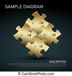 Vector golden puzzle sample schema - Vector golden puzzle ...