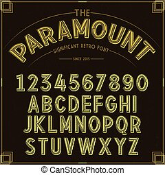 Vector Golden Retro Font