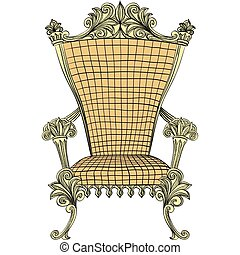 Vector golden royal throne on the white background