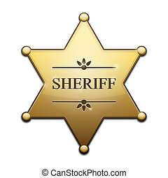 Golden Sheriff Star - Vector Golden Sheriff Star over white...