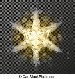 Vector golden star symbol on the dark background - glitter snowflake, transparency stellar flare. Shining reflection.