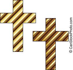 vector golden striped christian cross