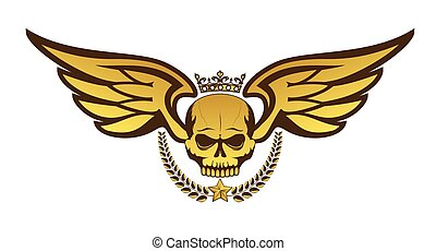 Vector golden tattoo or logo with crowned skull, wings, laurel wreath. Isolated on white background
