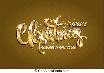 Vector golden text on gold red background.