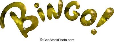 Vector Golden Textured Lettering: Bingo, Word Isolated.