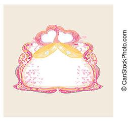 Vector golden wedding rings - Invitation card