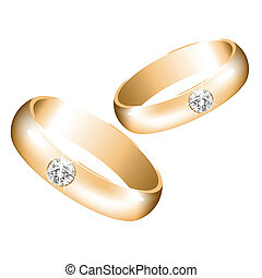 vector golden wedding rings with diamonds