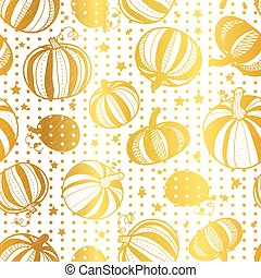 Vector golden white pumpkins polka dots seamless repeat pattern background. Great for fall themed designs, invitation, fabric, packaging projects.