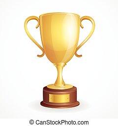 Vector golden winner cup on white