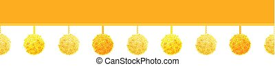 Vector Golden Yellow Decorative Pom Poms On A String Horizontal Seamless Repeat