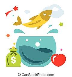 Vector Goldfish. Flat style colorful Cartoon illustration.