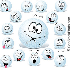 vector golf ball cartoon isolated on white with many facial...