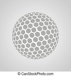 Vector golf ball isolated on a gray background