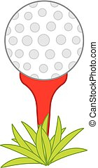 Vector Golf Ball on Red Tee