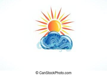 vector, golven, zon, blauwe , strand, swirly, logo