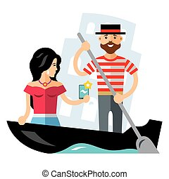 Vector Gondola. Venice. Flat style colorful Cartoon illustration.