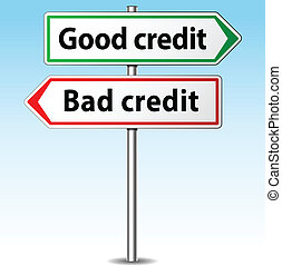 Vector good and bad credit direction concept