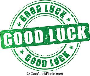 Vector good luck stamp - Vector illustration of green good...