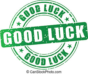 Vector good luck stamp - Vector illustration of green good ...