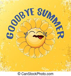 vector goodbye summer vector ccreative concept illustration with crying summer sun character on orange background. End of summer background