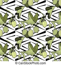 Vector Gooseberry black and white engraved ink art. Seamless background pattern.