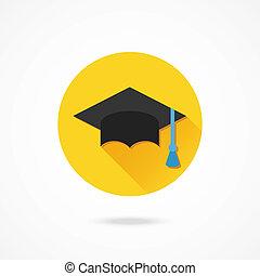 vector, gorra, graduación, icono