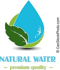 vector, gota, símbolo, con, hoja, blanco, plano de fondo, natural, etiqueta, para, agua mineral