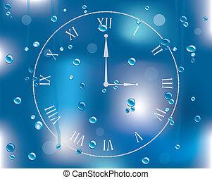 vector, gotas de lluvia, en, vidrio