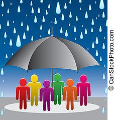 vector, gotas, protección, paraguas, lluvia