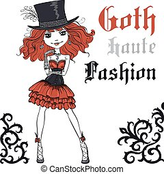 Vector Beautiful Goth girl with scarlet hair dressed in the style of High Gothic fashion in black and scarlet dress and silk hat. T-shirt Graphics. Girl print.