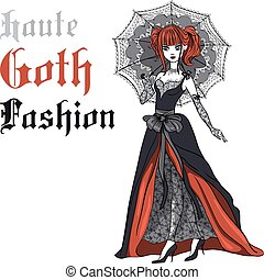 Vector Beautiful Goth girl with scarlet hair dressed in the style of High Gothic fashion in black dress with black umbrella. T-shirt Graphics. Girl print.