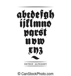 Vector gothic font alphabet