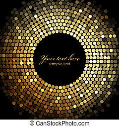 vector, goud, disco steekt aan, frame