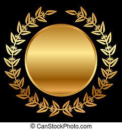 vector, goud, laurels, op, black