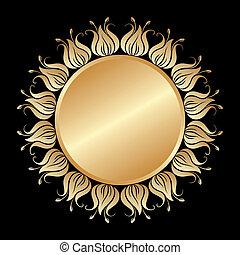 vector, goud, ornament.