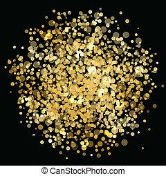 vector, goud, verdoezelen