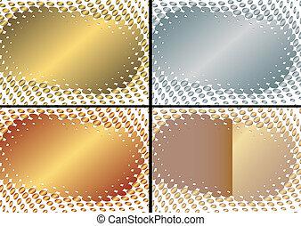 (vector), gouden, frame, verzameling, zilverachtig