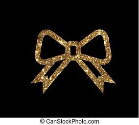 vector, gouden, schitteren, cadeau, lint, lijn, pictogram