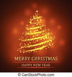 vector, gouden, schitteren, kerstboom, achtergrond.