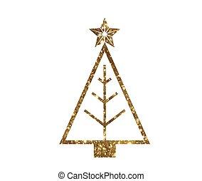 vector, gouden, schitteren, kerstboom, lijn, pictogram