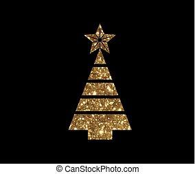 vector, gouden, schitteren, kerstboom, plat, pictogram